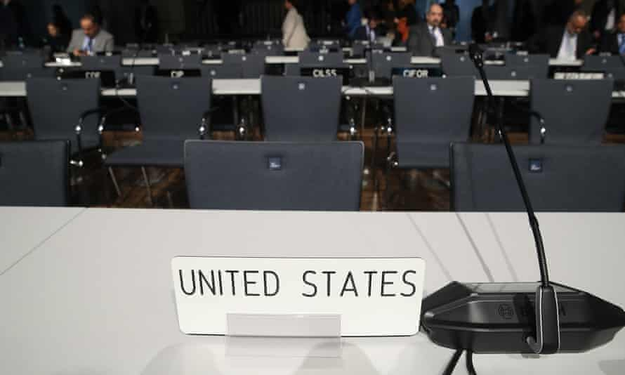 The desk of the US delegation at COP 23 climate change conference  in Bonn