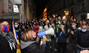 Catering sector workers protest against the new Covid-19 restrictions in Catania, Sicily