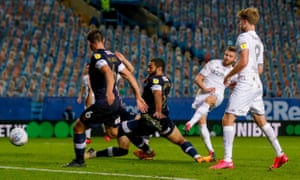 Leeds' Stuart Dallas slots in the equaliser.
