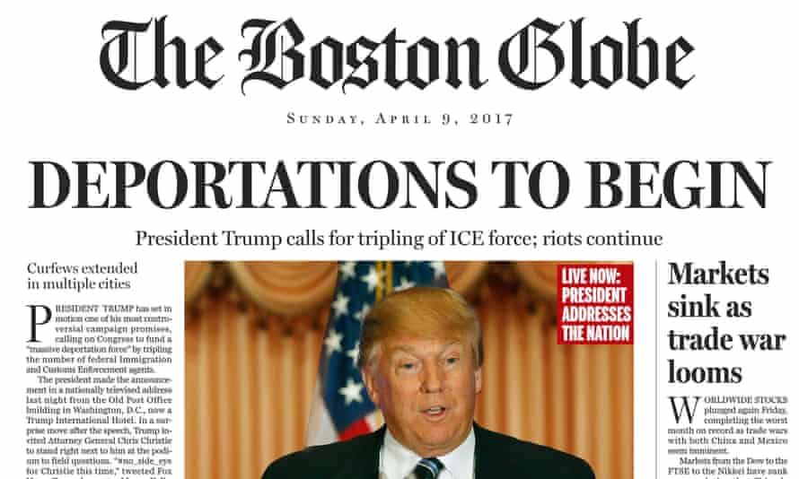 A portion of a the fake front page of The Boston Globe published on the newspaper's website on Saturday, April 9, 2016.
