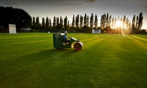 Volunteer groundsman Brian Calverley at Hunslet Nelson Cricket Club in Leeds, where thieves stole a four metre section of their artificial wicket.