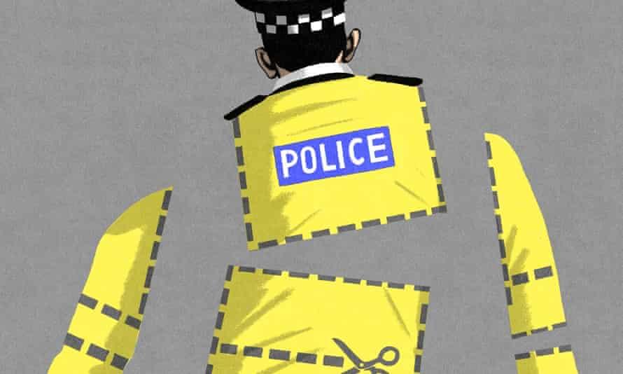 Bill Bragg illustration for police cuts