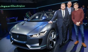 James Corden, Vinnie Jones and Niall Horan with the Jaguar I-PACE Concept, an all-electric SUV at the Los Angeles Auto Show.