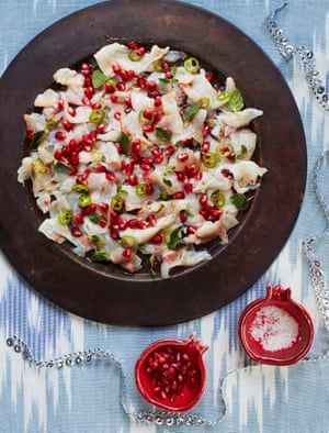 Itamar Srulovich and Sarit Packer's cured sea bream with pomegranate and cumin: Christmassy colours, incredible flavours.