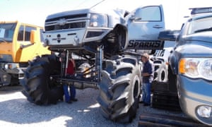 """The """"Hercules,"""" a customized truck with deleted emissions controls, which was featured in the Discovery Channel's show the Diesel Brothers. It's owner David Sparks is the CEO of a body shop successfully sued by a health advocacy group."""