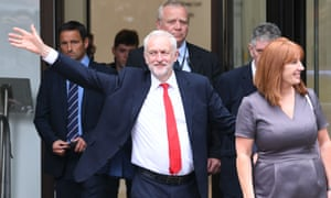 Jeremy Corbyn leaves Labour Party HQ in central London after he reiterated his call for Theresa May to resign as Prime Minister