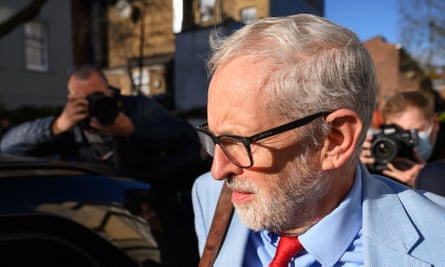Jeremy Corbyn leaves his home in Islington.