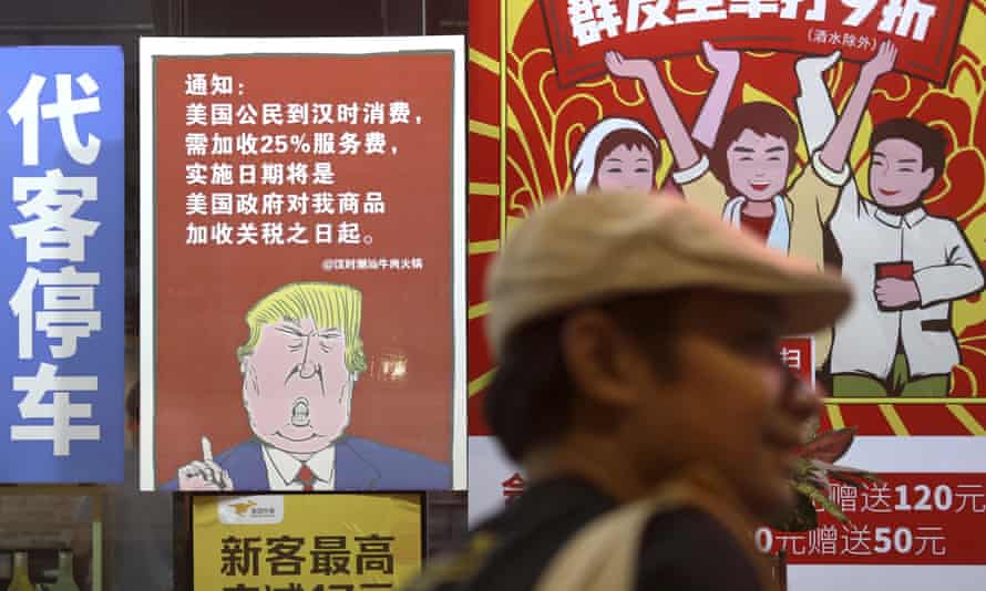 A mural in China of President Trump stating that all American custumers will be charged 25% more