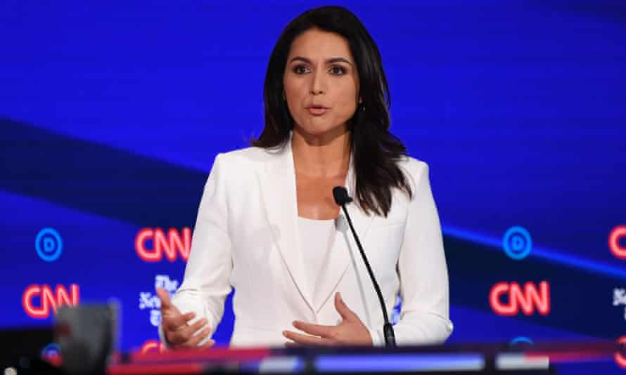 Tulsi Gabbard speaks during the fourth Democratic primary debate