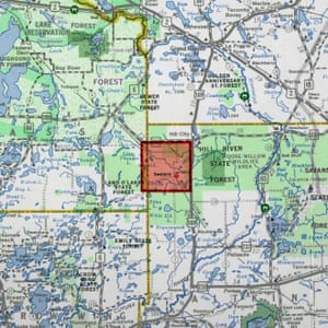 Map shows planned location of city in northern Minnesota
