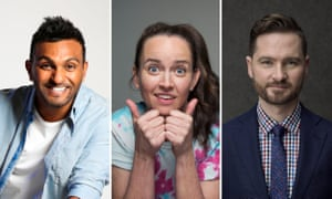 No laughing matter: Nazeem Hussain, Zoë Coombs Marr and Charlie Pickering have had to adapt their shows for foreign audiences.