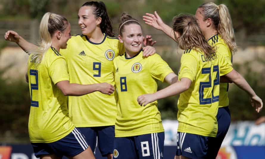 Scotland's players celebrate during the Algarve Cup match against Iceland in Portugal