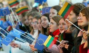 Lithuanians celebrating the country's entry into the EU in 2004.