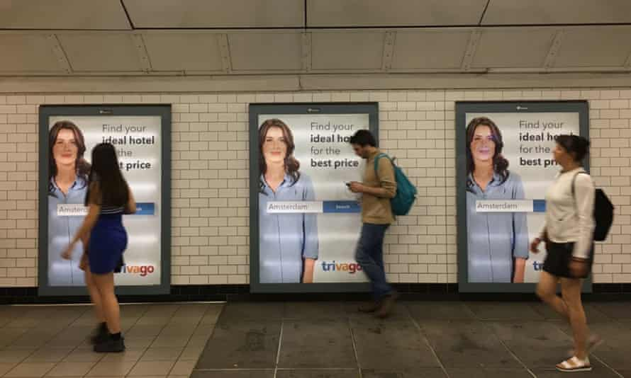 Trivago posters on the underground