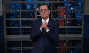 """Colbert: """"I will grant you: the moonwalk is not an easy dance, but you might want to learn to moonwalk away right now."""""""