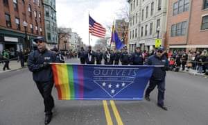 OutVets, a group of gay military veterans, march in the St Patrick's Day Parade in South Boston in 2016.