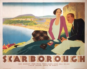 A 1932 poster promoting the joys of Scarborough shows a young couple with binoculars on a clifftop below the castle walls, with the beach seen below in the distance.