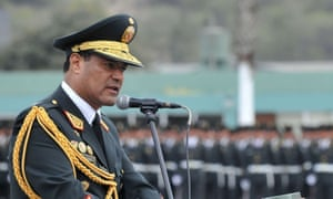 Raul Becerra, former head of the national police force, speaks during a police ceremony in 2016. Authorities in Peru said Tuesday that Becerra is accused of involvement in a baby trafficking ring.