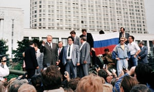 Boris Yeltsin gathers supporters in Moscow after an attempted coup which would later result in the collapse of the Soviet empire.