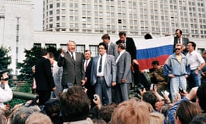 Boris Yeltsin denounces the 1991 coup.