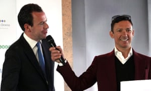 Frankie Dettori playing the clown with host Nick Luck at the Breakfast with the Stars event at Espom on Tuesday.