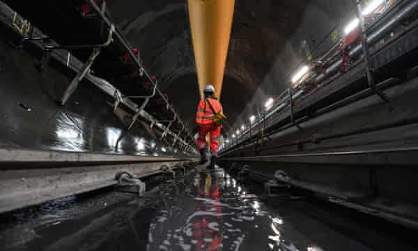 Inside a section of the Thames Tideway tunnel.