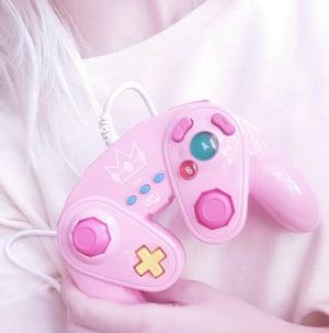 Pink Nintendo Gamecube controller.