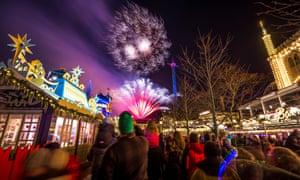Fireworks show in Tivoli park in New Eve evening on December 31, 2013 in Copenhagen, Denmark