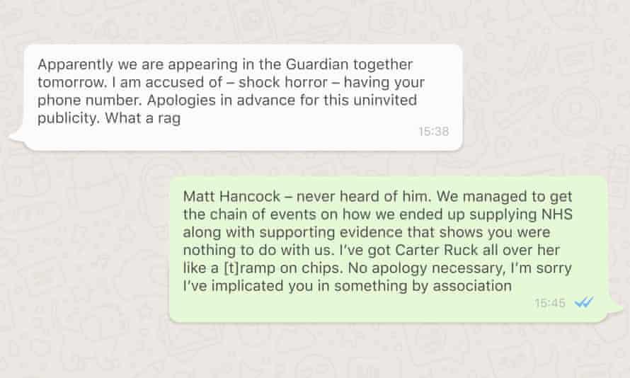 Composite of WhatsApp messages between Matt Hancock and Alex Bourne
