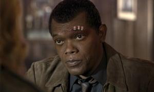 Samuel L Jackson as Nick Fury in Captain Marvel.