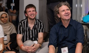 Dave Eggers with students at the International Congress of Youth Voices.