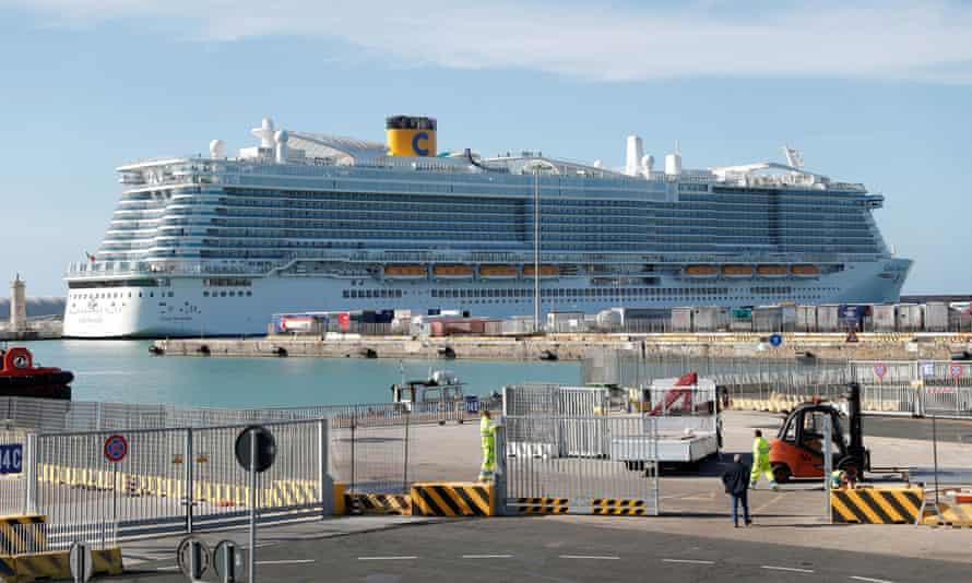 The vessel at the port of Civitavecchia.