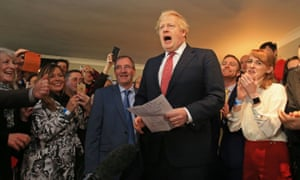 Boris Johnson speaks to supporters during a visit to the new Conservative seat of Sedgefield