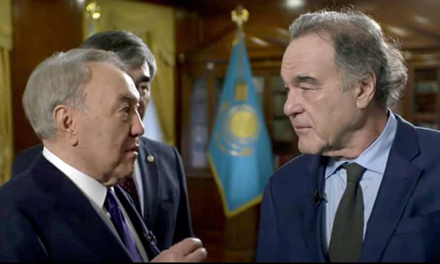 Oliver Stone (right) with Nursultan Nazarbayev