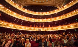 The audience wait for a performance at the Royal Opera House