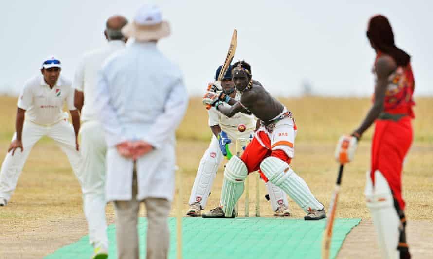 Maasai Warriors in Twenty20 action against the Ambassadors of Cricket in June 2013