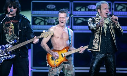 From left: Wolfgang Van Halen, Eddie Van Halen and David Lee Roth performing in Los Angeles in 2007.