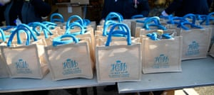 Gift bags for the members of public invited to the wedding.