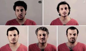 A composite showing the five men in the Isis video, clockwise from top left: Ubi Muhammad Abdul Ghani, Faisal Hamud al-Ja'far, Mahyar Mahmud al-Uthmaan, Ha'il Marwan Abdul Razaq and Umaar Hamud al-Ja'far.