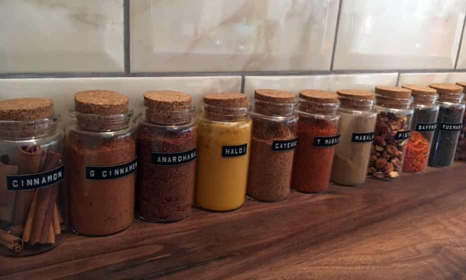 Spice jars: the essentials of Vicky Bhogal's kitchen.