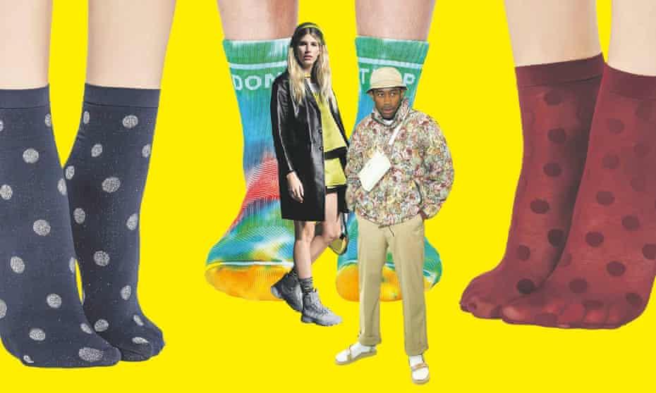 Calzedonia polka-dot socks, £4; tie-dye Don't Trip socks, £23; fashion influencer Veronika Heilbrunner; and Tyler, the Creator in white socks and sandals.