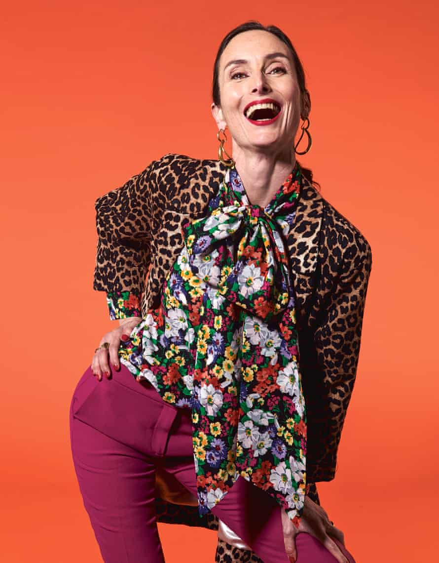 Last year's model: Karen wears coat by Ganni at Liberty, blouse by Gucci at Matches Fashion, trousers by No 21 at Harvey Nichols, and earrings by Louise  Olsen at Dinosaur Designs