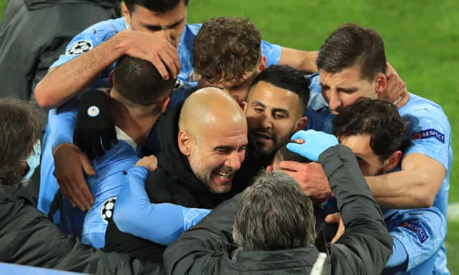 Pep Guardiola celebrates Manchester City's winner in Dortmund as his team's run of quarter-final defeats came to an end.