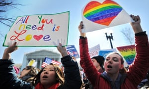Same-sex marriage supporters rally in Washington.