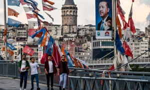 Banners carrying the image of Recep Tayyip Erdoğan are seen throughout Istanbul.