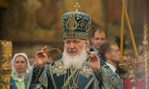 The head of Russia's Orthodox church, Patriarch Kirill, at a religious service in Moscow.