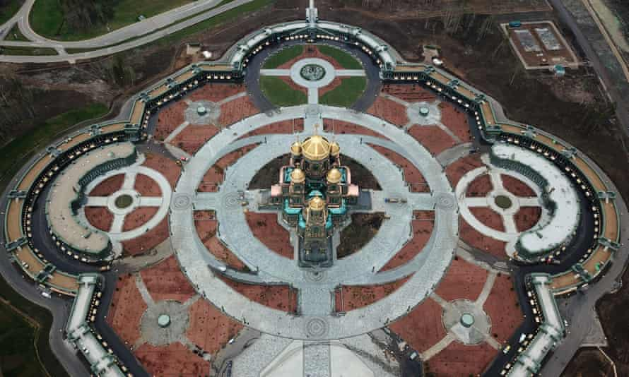 An aerial view of the cathedral.