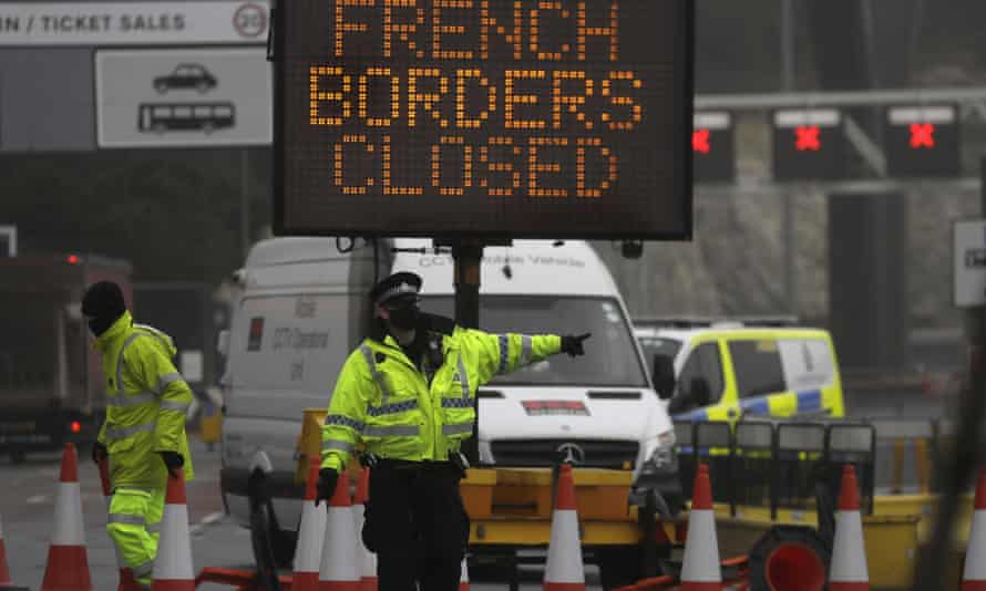 The closed ferry terminal at Dover, with sign reading: 'French borders closed'