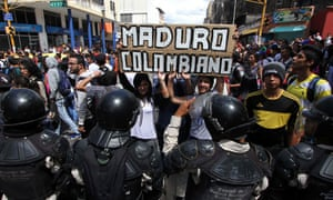 A student protest against the government of President Nicolás Maduro in San Cristobal, in the Venezuelan border state of Táchira neighbouring Colombia.
