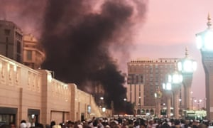 Smoke rises above the site of the explosion in Medina.